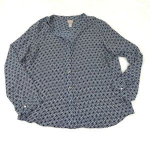 Chicos Button Front Blouse Size 2 Large Blue White